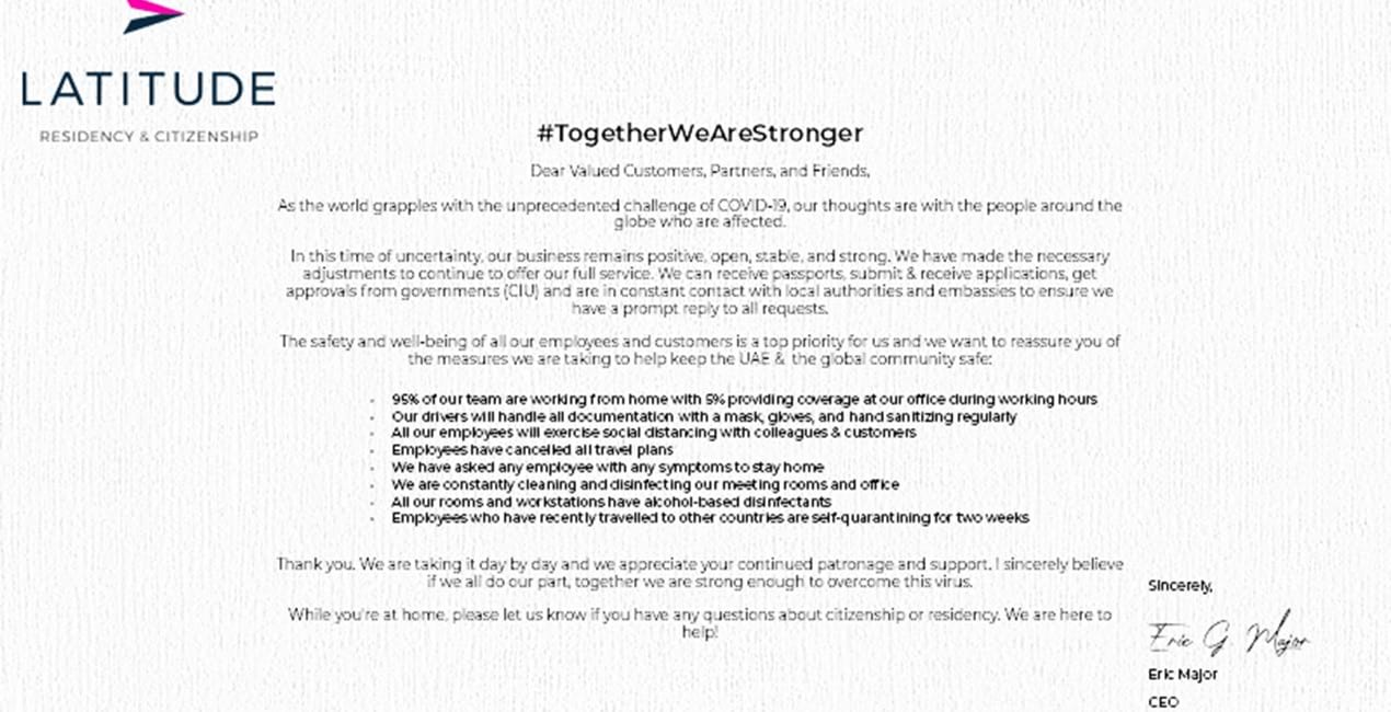 #TogetherWeAreStronger - COVID Update